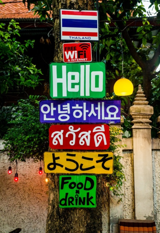 assorted-color signages